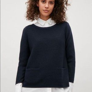 COS Dark Blue A-Line Merino Sweater Boatneck XS